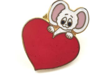 Vintage Mouse on Red Heart lapel pin