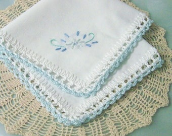 Blue Lace Handkerchief, Hanky, Hankie, Bridal, Something Blue, Embroidered, Floral, Hand Crochet, Lace, Bridal Keepsake, Ready to ship