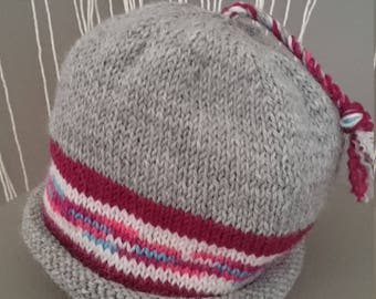 Beautiful Kids Winter Warm 100% Wool Boho Hippy Tassel Beanie