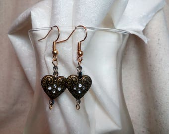 Bronzed hearts earrings