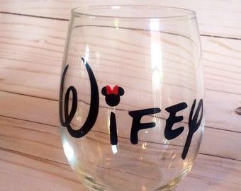 Stemless wifey wine glass, wifey wine glasses, wifey glass, bridal shower gift