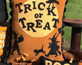 Wool Applique Halloween Trick or Treat Pattern