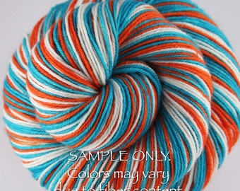 "Dyed to Order: Self striping sock yarn - ""AQUA - ORANGE - WHITE"" - Football Baseball Sports School colors - Miami"