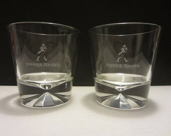 Set of 2 NEW Johnnie Walker Black Label Scotch Whisky Walking Man Logo Diamond Pattern Heavy Base Lowball Rocks Glasses