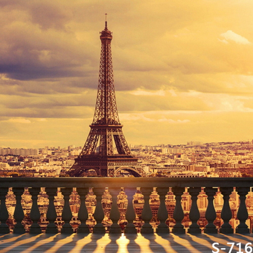 France Sunset Paris Eiffel Tower Photography Studio Backdrop