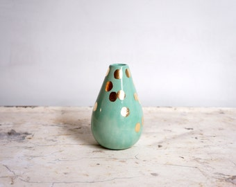 MADE TO ORDER mint and gold teardrop vase