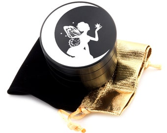 "Fairy Laser Etched Design 2.5"" Large Size Herb Grinder Item # ETCH-G013017-81"