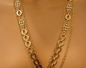 Monet 3 Strand Goldtone Necklace