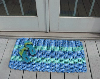 Blue and Aqua doormat handwoven from lobster trap rope