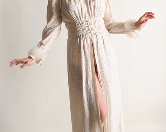 Vintage 1930s Robe - Floral Burnout Marabou Feather Trimmed Nightgown - Medium