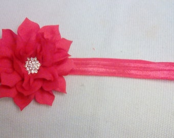 Watermelon Red Infant to Toddler Flower Headband - Flower Headband - Watermelon Red Headband - Elastic/Stretch Headband - Holiday Headband