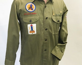 Vintage 1940's 1950's Boy Scouts Uniform official shirt with patches and medals