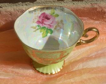 Lipper & Mann Teacup - Lusterware Green/Gold, Swirled, Pink Rose - Vintage - Fabulous!