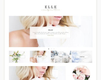 "Wordpress Theme Responsive Blog Design ""Elle"" - Cute and gold"