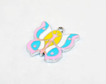 HEV41 - pendant Butterfly pink blue white yellow enamel 25mm X 25mm