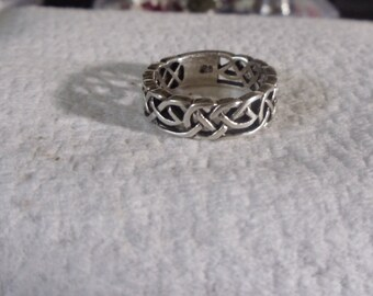 Celtic Knot thick Sterling Silver Ring size 6