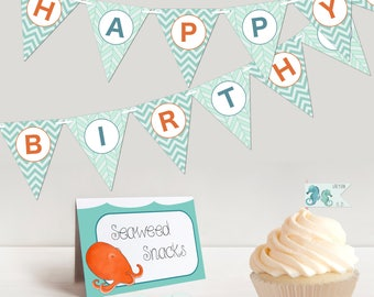 Custom Ocean Theme Party Printables - Kids Birthday Party Package: Happy Birthday Bunting Banner, Cupcake Toppers, Menu Cards & Favor Tags