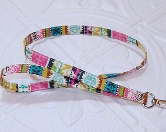 Lanyard - Badge Holder - Keychain Lanyard - Teacher Lanyard - Multi Colored Stripe