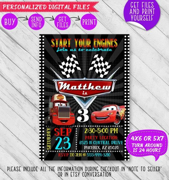 Disney cars invitation disney cars birthday invitation solutioingenieria Images