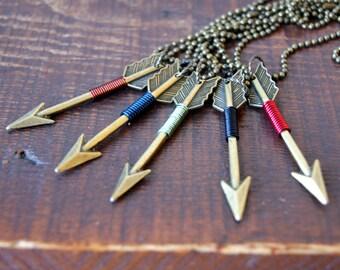 Bronze Arrow Necklace - wire wrapped arrow pendant