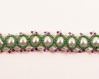 Peeking Pearls Bracelet, Beading Tutorial in PDF