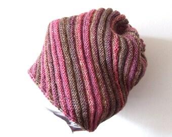pink brown beanie hat, handknit wool cap