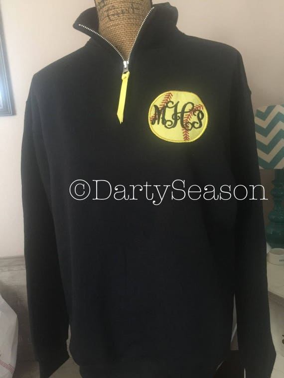 Monogrammed Softball Quarter Zip Pullover Sweatshirt Jacket Monogram Sweater Baseball Sports Sweatshirt Popover any Sport Volleyball Soccer l5rgu