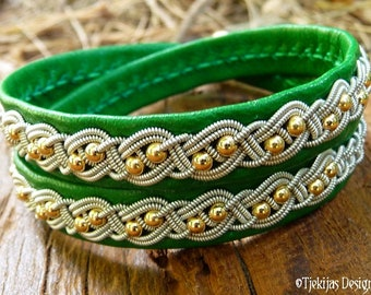 Viking Sami Bracelet BIFROST Double Wrap Cuff in Emerald Green Lambskin with 14K Gold and Pewter Braid