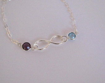 Mothers Birthstone Bracelet-Infinity Birthstone Bracelet-Silver Birthstone Bracelet-Silver Birthstone Jewelry-Custom Birthstone Bracelet
