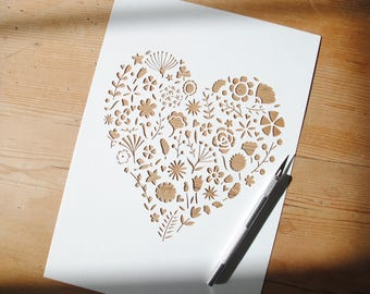 Floral heart paper cut template – DIY gift for mum – instant download – birthday papercut gift – flower papercut – personal use template