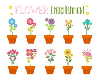 Machine Embroidery Designs - Flower Embellishment Collection of 10