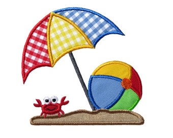 Beach Umbrella Ball Applique Machine Embroidery Digital Design Crab Ocean