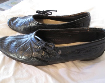 Vintage hand tooled leather shoes