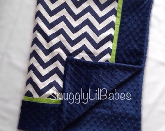 Navy chevron, lime blanket with lime trim and navy minky dot