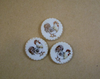 Rooster Button set of 3