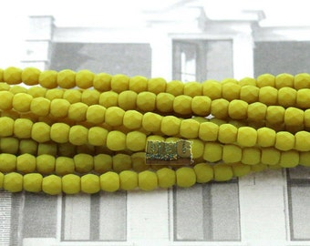 50pcs 3mm Czech glass Firepolish bead - SATURATED CHARTREUSE - 3mm Facetted beads - Fire polish