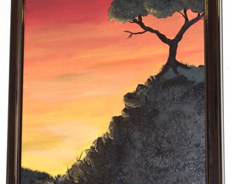Sunset Serenity, Original Painting, sunset tree silhouette, framed