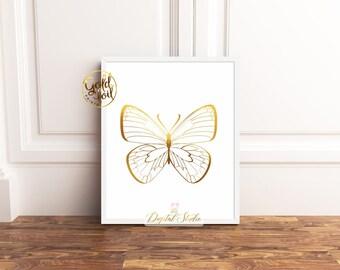 Butterfly Wall Decor, Butterfly Gold Foil Print, Butterfly Nursery Decor, Butterfly Wall Art, Nursery Decor Butterflies