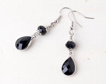 Gothic Black Crystal Drop/Dangle Earrings