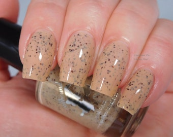 Eggnog Latte *with optional scent* - custom nude brown flakey flakies bronze glitter nail polish