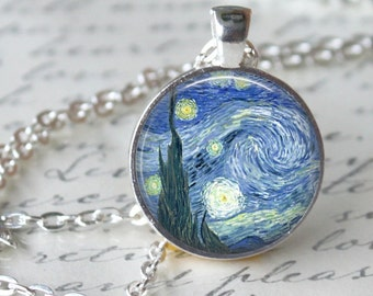 Vincent Van Gogh Necklace Pendant Painting The Starry Night Art Necklace Post Impressionist  Handmade Pendant Art Jewerly (207)