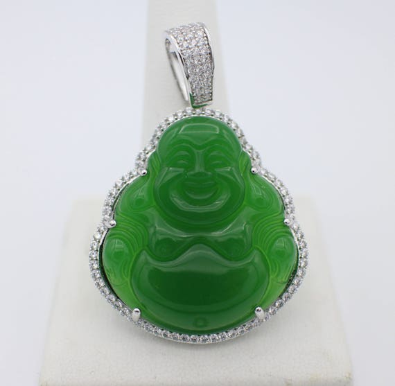 Custom 3d jade 14k white gold laughing buddha pendant charm custom 3d jade 14k white gold laughing buddha pendant charm with 05ct natural diamonds aloadofball Image collections