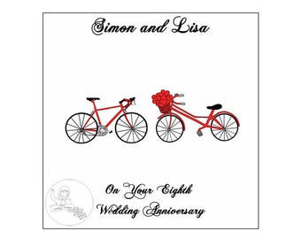 Handmade Personalised Eighth Wedding Anniversary Card 8th Road Bikes Bicycle Hearts Bronze