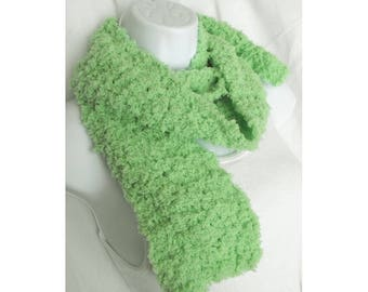 Ladies Warm Winter Crochet Scarf - Mint Green Color - Soft and Light Weight