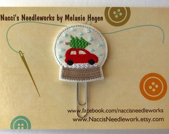 Christmas Tree Snow Globe - Felt Decorative Paper Clip - Holiday Planner Clip - Holiday Gift