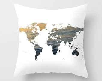 Ocean texture map etsy sea texture world map pillow world map home decor interior design accent piece world map dorm office pillow brown black white gumiabroncs Image collections