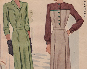 RARE 1940s 40s McCall 6146 Day Dress Vintage Sewing Pattern, Size 14, Bust 32, Complete