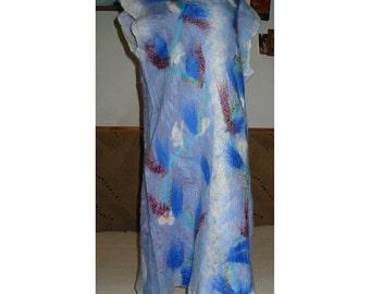 Felt Dress,Felt Tunic,Merino Wool Dress,Nuno Felt Dress,European Design ,Blue Dress, Merino Wool Felt Dress,Art Deco ,Woman Gift ,Handmade