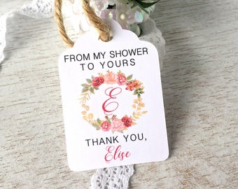 Bridal shower favor tags, from my shower to yours, thank you tags, soap favor tags, bath salts tags, baby shower tags - set of 30(tg61)