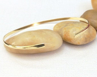 Skinny Stacking Cuff ~ Simple Hand Forged Brass Cuff Bracelet ~ Open Thin Gold Bangle Bracelet